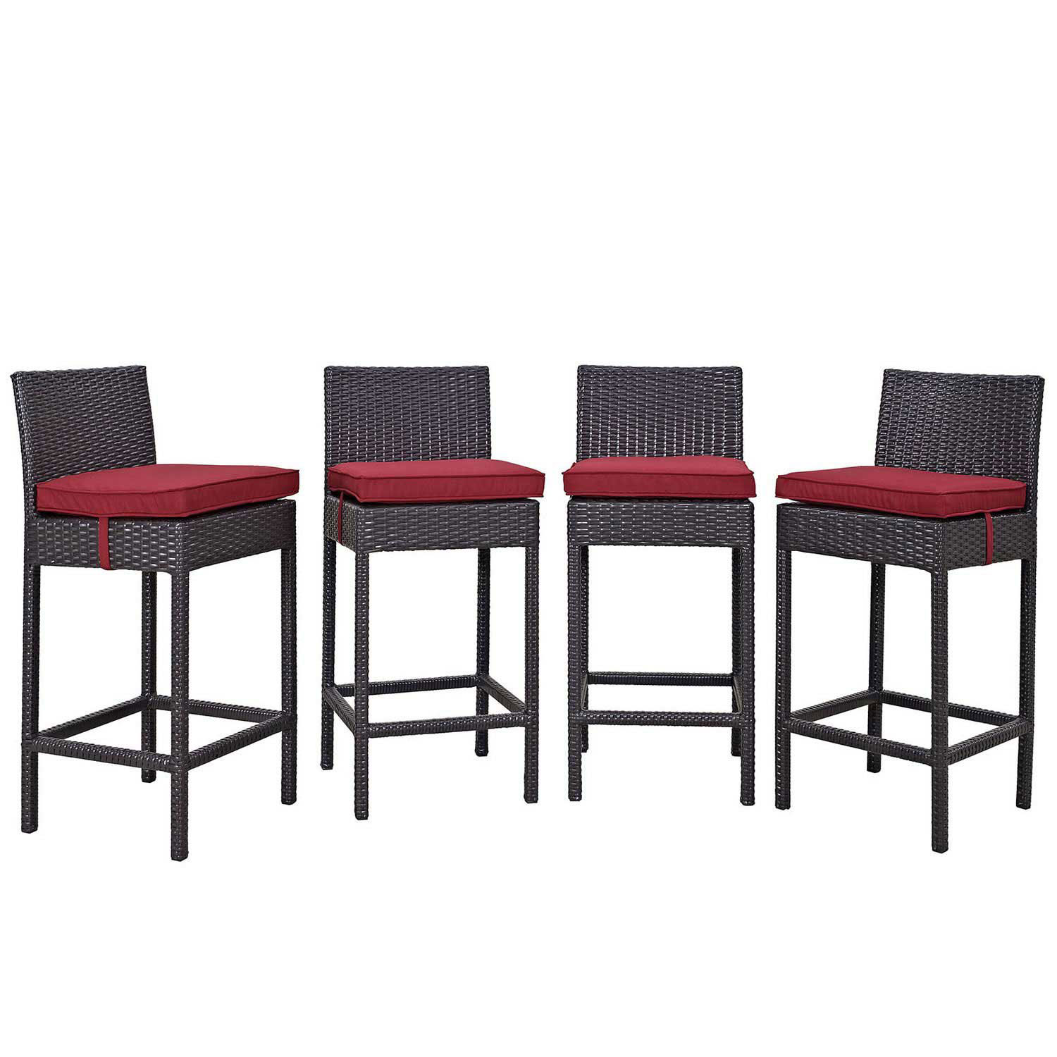 Modway Convene 4 Piece Outdoor Patio Pub Set - Espresso red