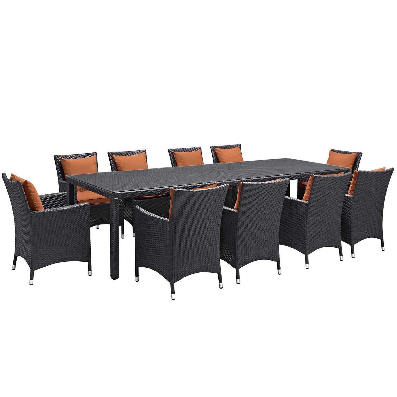 Modway Convene 11 Piece Outdoor Patio Dining Set - Espresso Orange