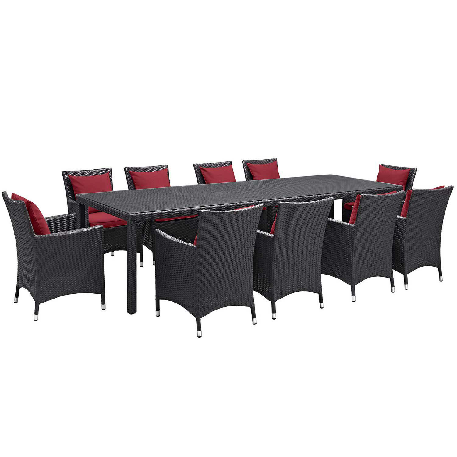 Modway Convene 11 Piece Outdoor Patio Dining Set - Espresso Red