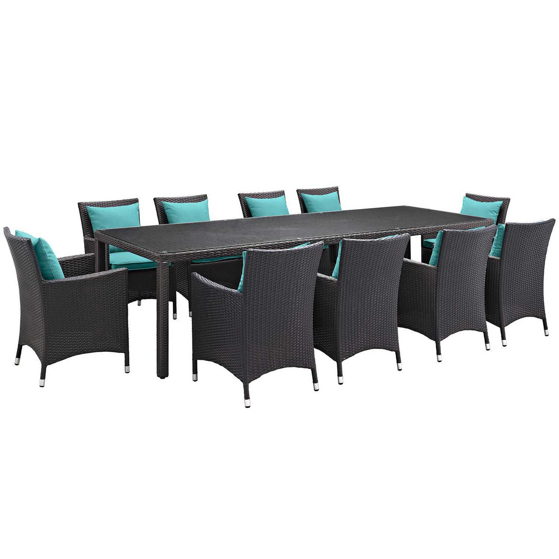 Modway Convene 11 Piece Outdoor Patio Dining Set - Espresso Turquoise