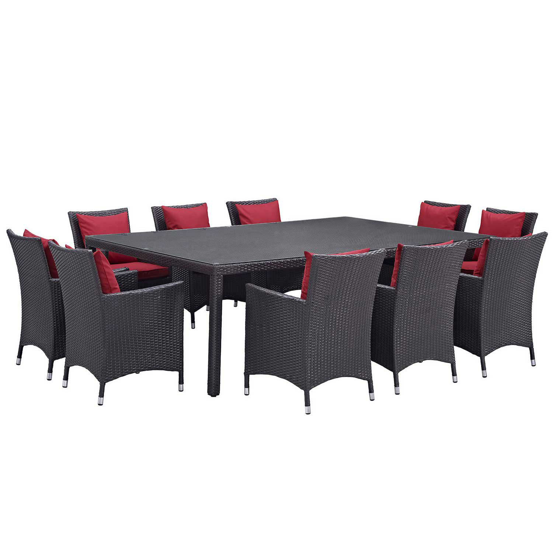 Modway Convene 11 Piece Outdoor Patio Dining Set - Espresso Red