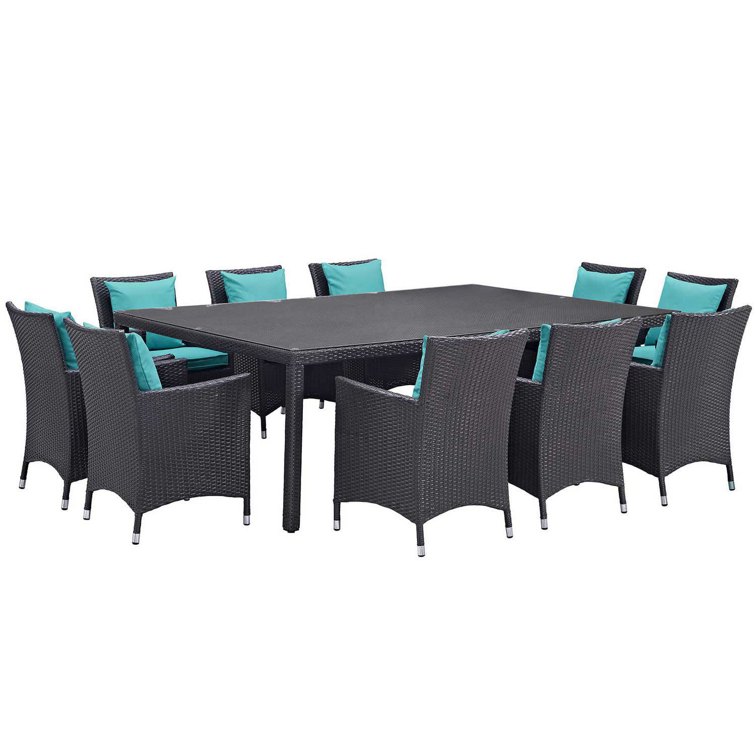 Modway Convene 11 Piece Outdoor Patio Dining Set - Espresso Turquoise