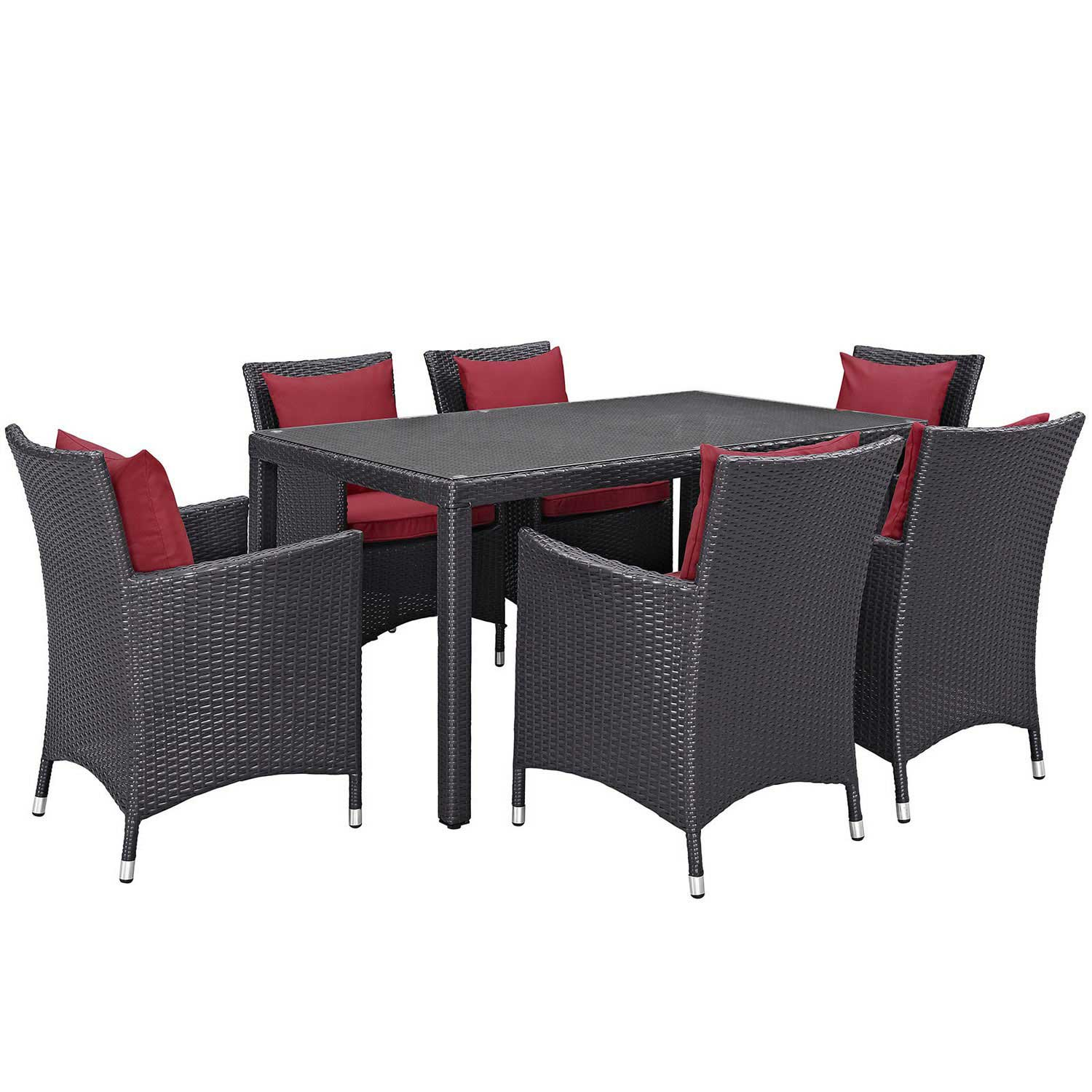Modway Convene 7 Piece Outdoor Patio Dining Set - Espresso Red