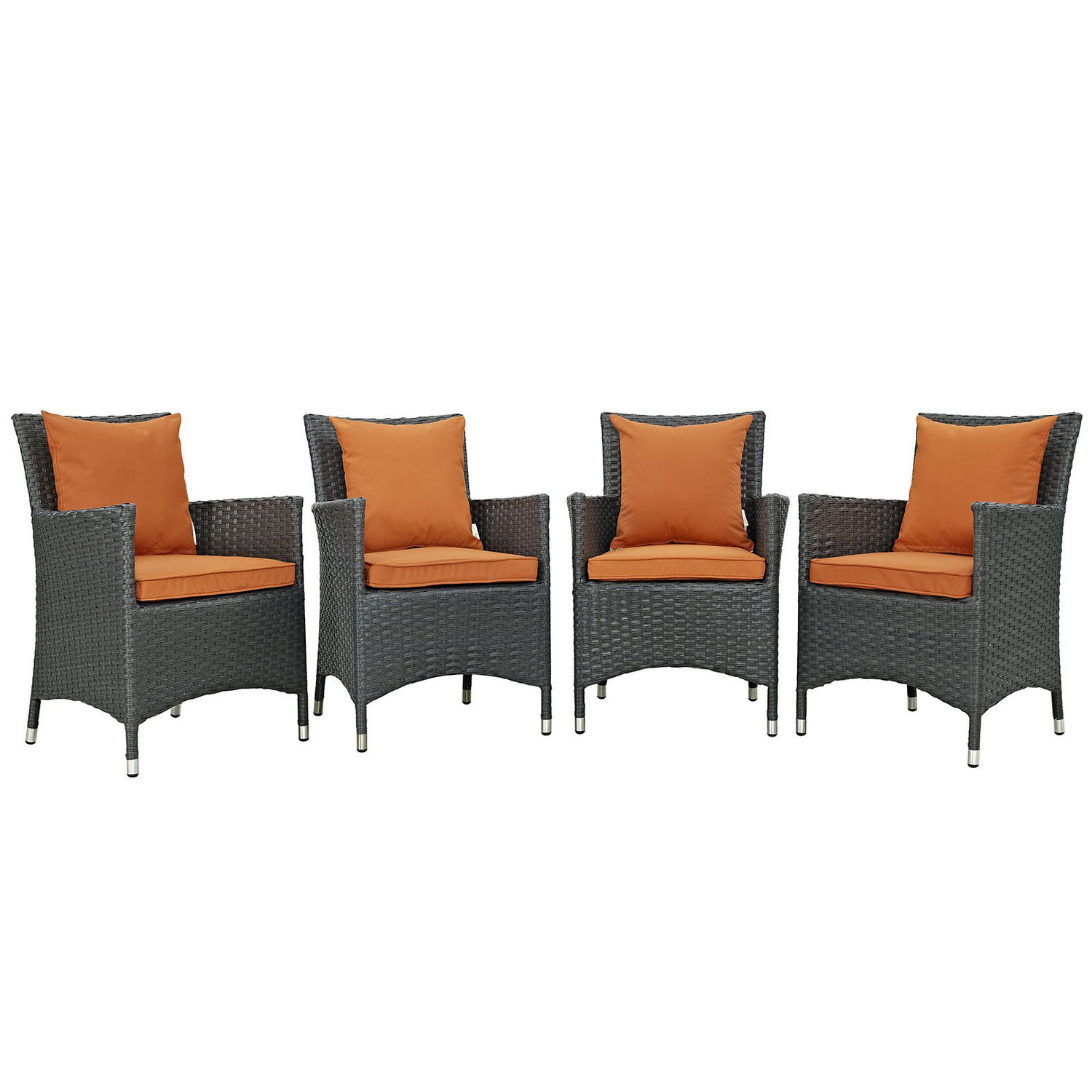 Modway Sojourn 4 Piece Outdoor Patio Sunbrella Dining Set - Canvas Tuscan