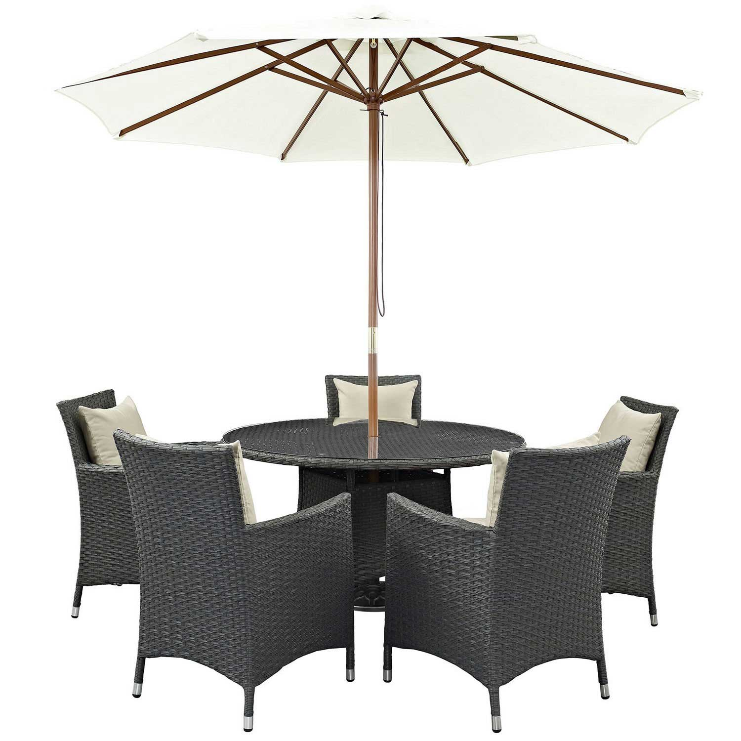 Modway Sojourn 7 Piece Outdoor Patio Sunbrella Dining Set - Antique Canvas Beige