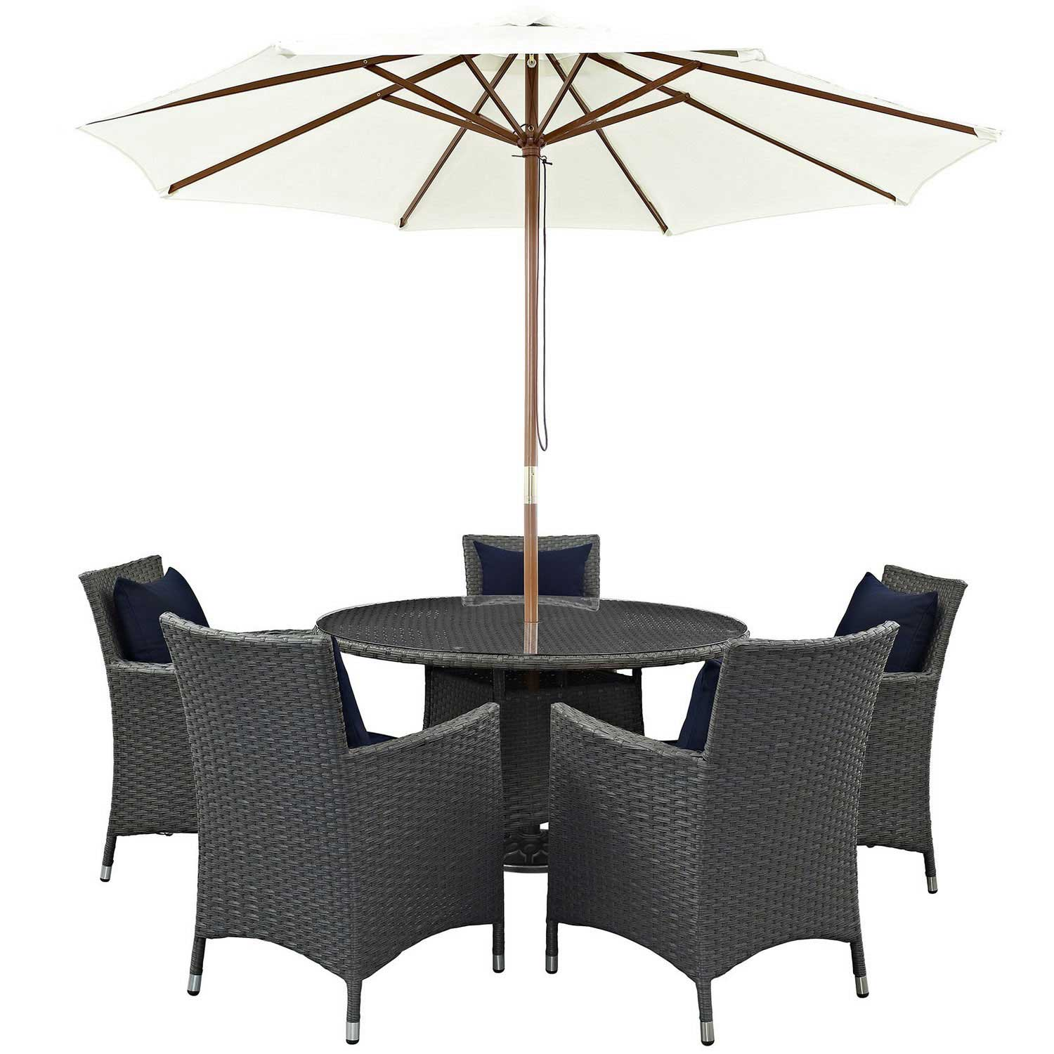 Modway Sojourn 7 Piece Outdoor Patio Sunbrella Dining Set - Canvas Navy