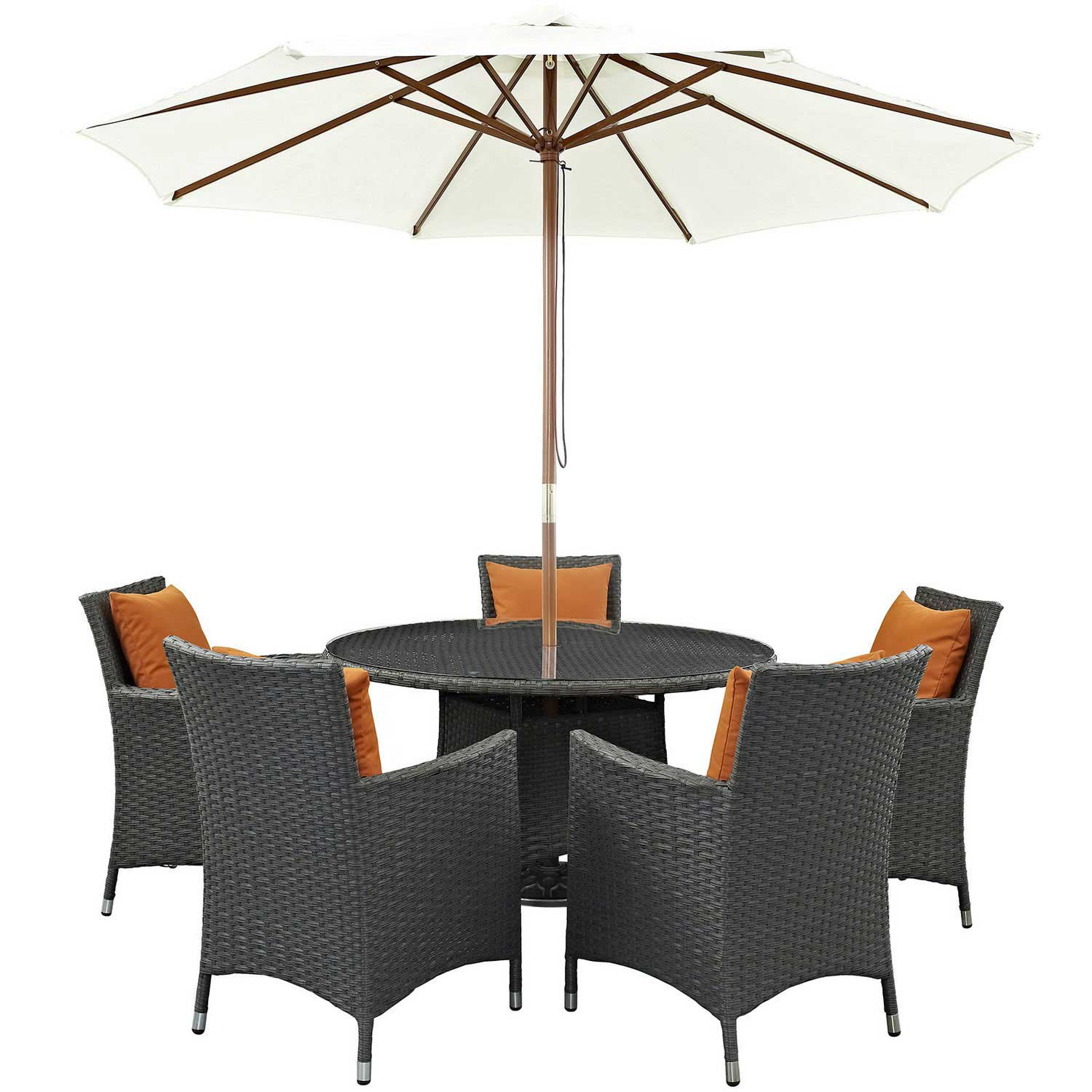 Modway Sojourn 7 Piece Outdoor Patio Sunbrella Dining Set - Canvas Tuscan