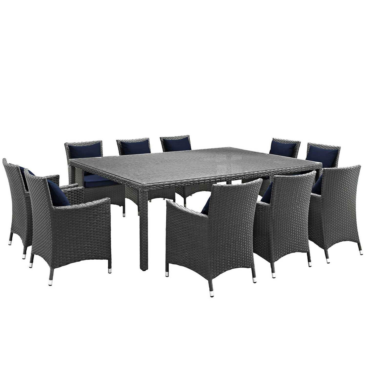Modway Sojourn 11 Piece Outdoor Patio Sunbrella Dining Set - Canvas Navy