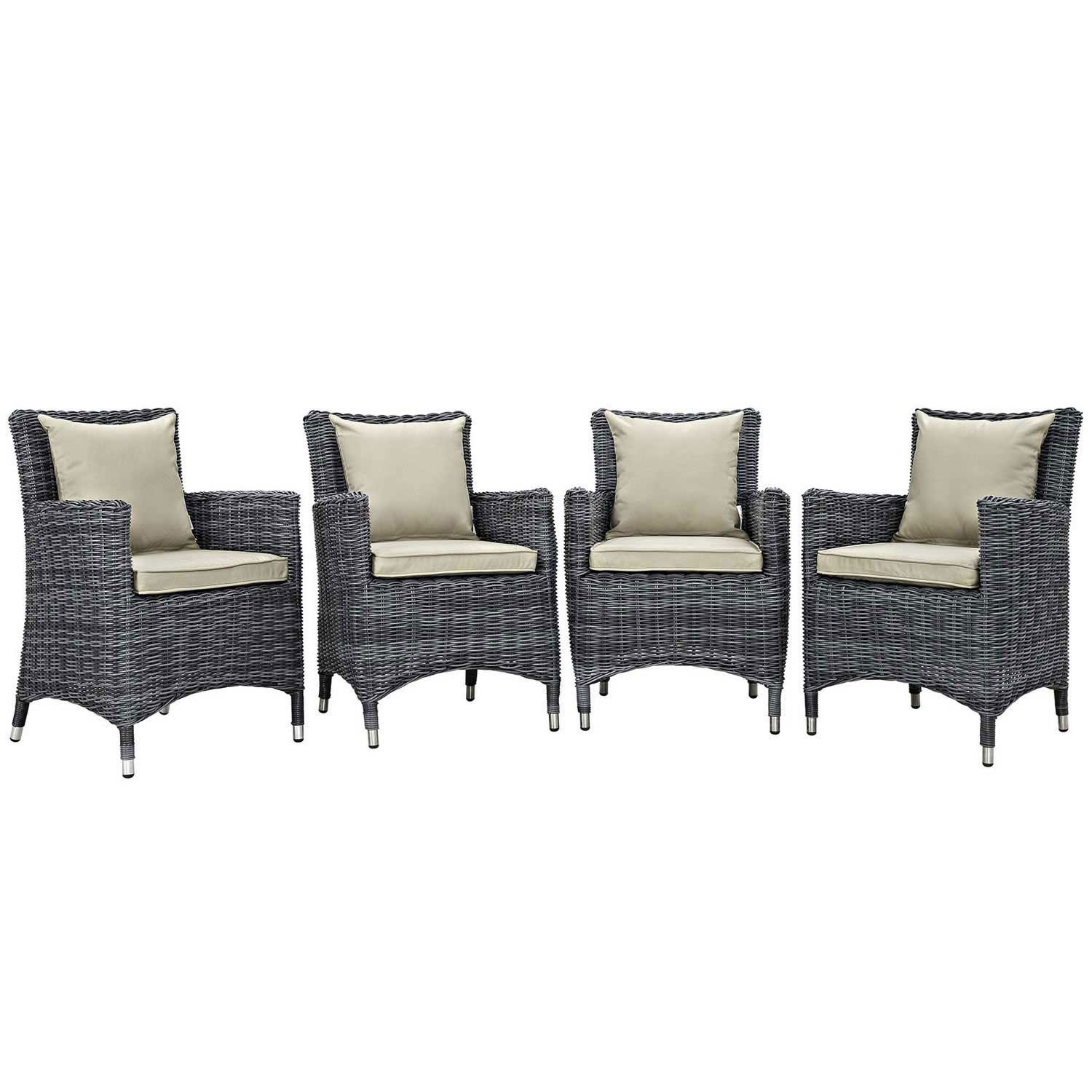 Modway Summon 4 Piece Outdoor Patio Sunbrella Dining Set - Antique Canvas Beige
