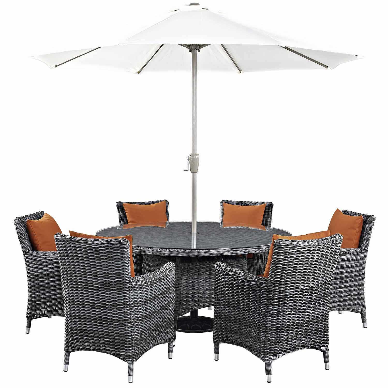 Modway Summon 8 Piece Outdoor Patio Sunbrella Dining Set - Canvas Tuscan