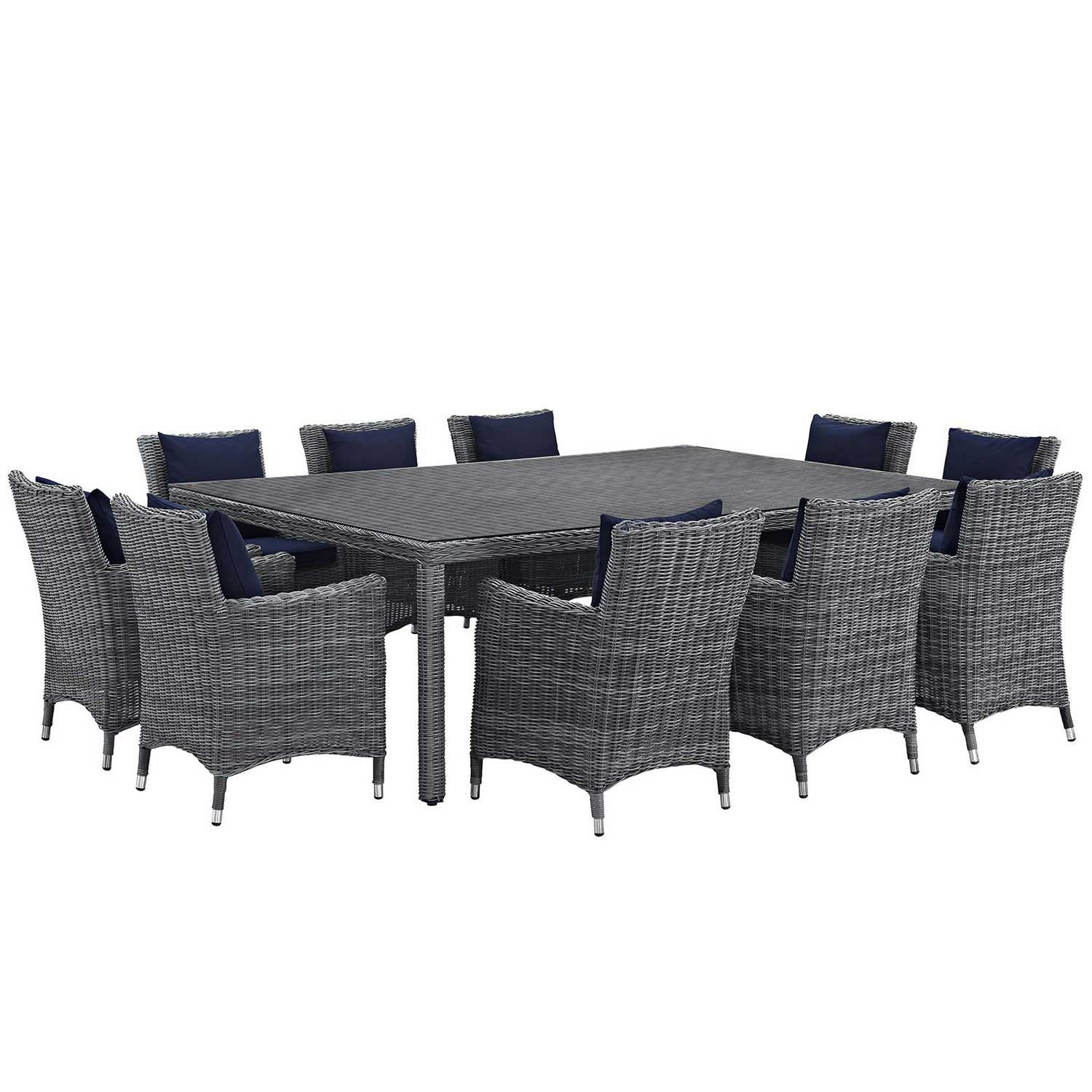 Modway Summon 11 Piece Outdoor Patio Sunbrella Dining Set - Canvas Navy
