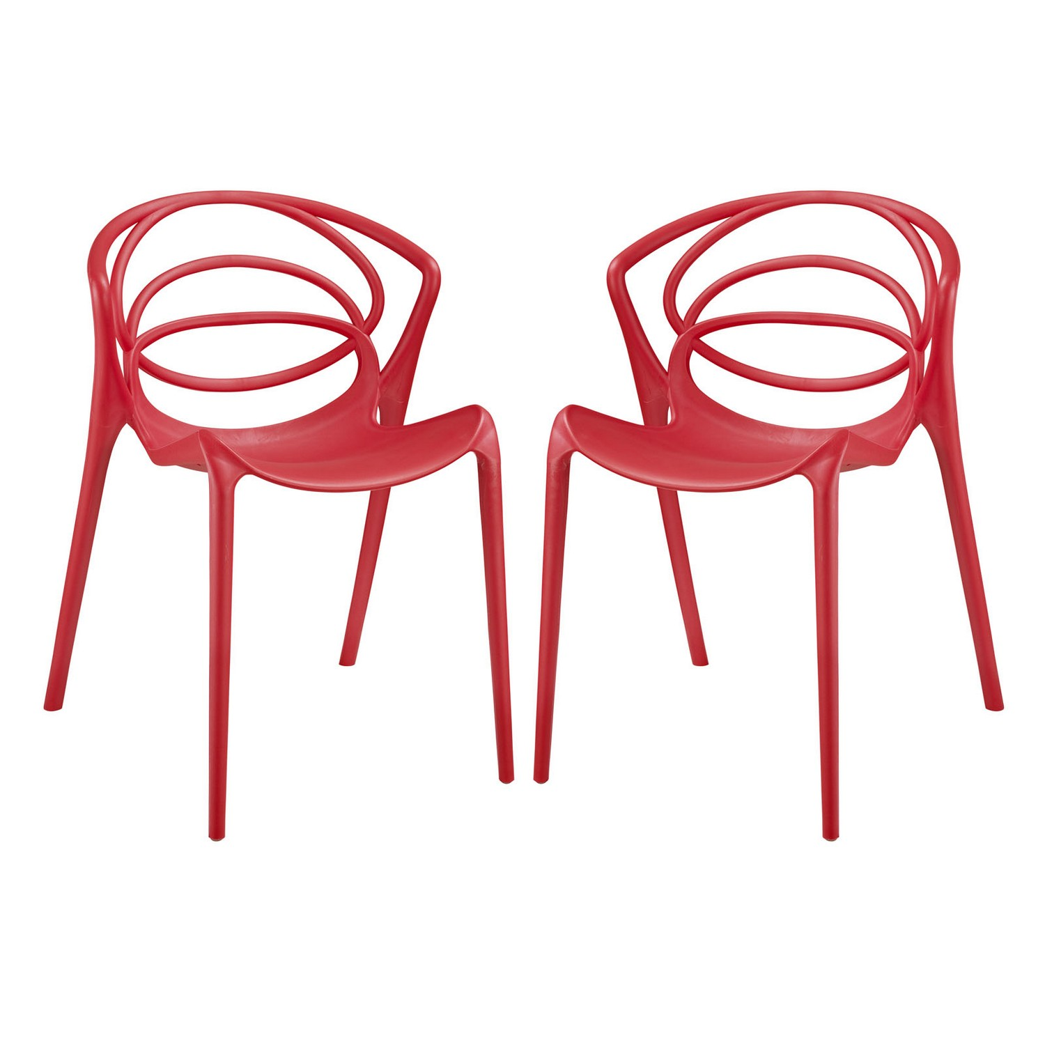 Modway Locus Dining Chair - Set of 2 - Red
