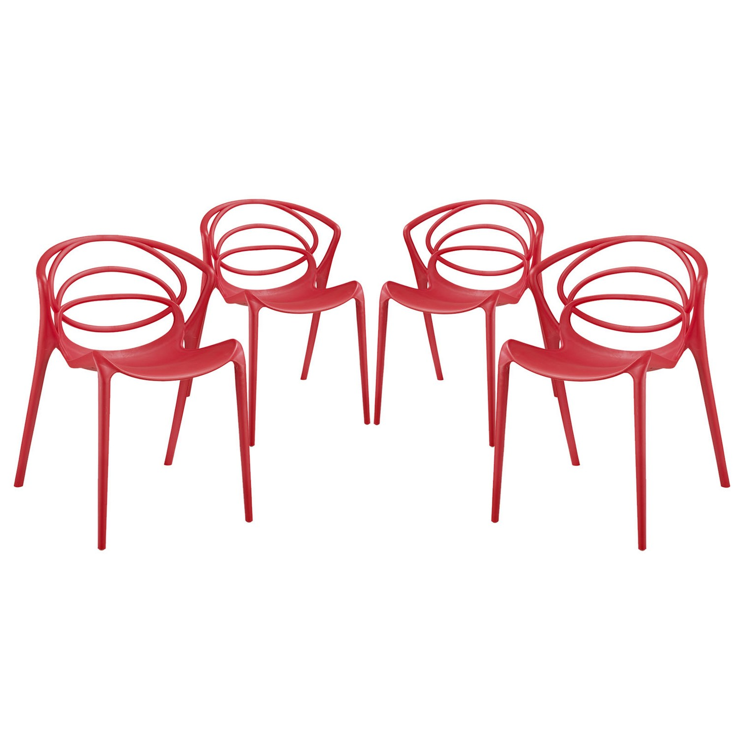 Modway Locus Dining Chair - Set of 4 - Red