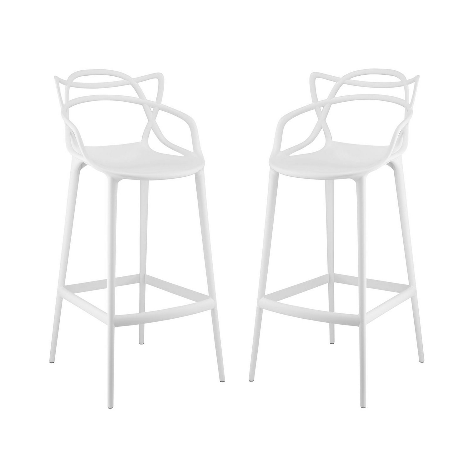 Modway Entangled Bar Stool Set of 2 - White