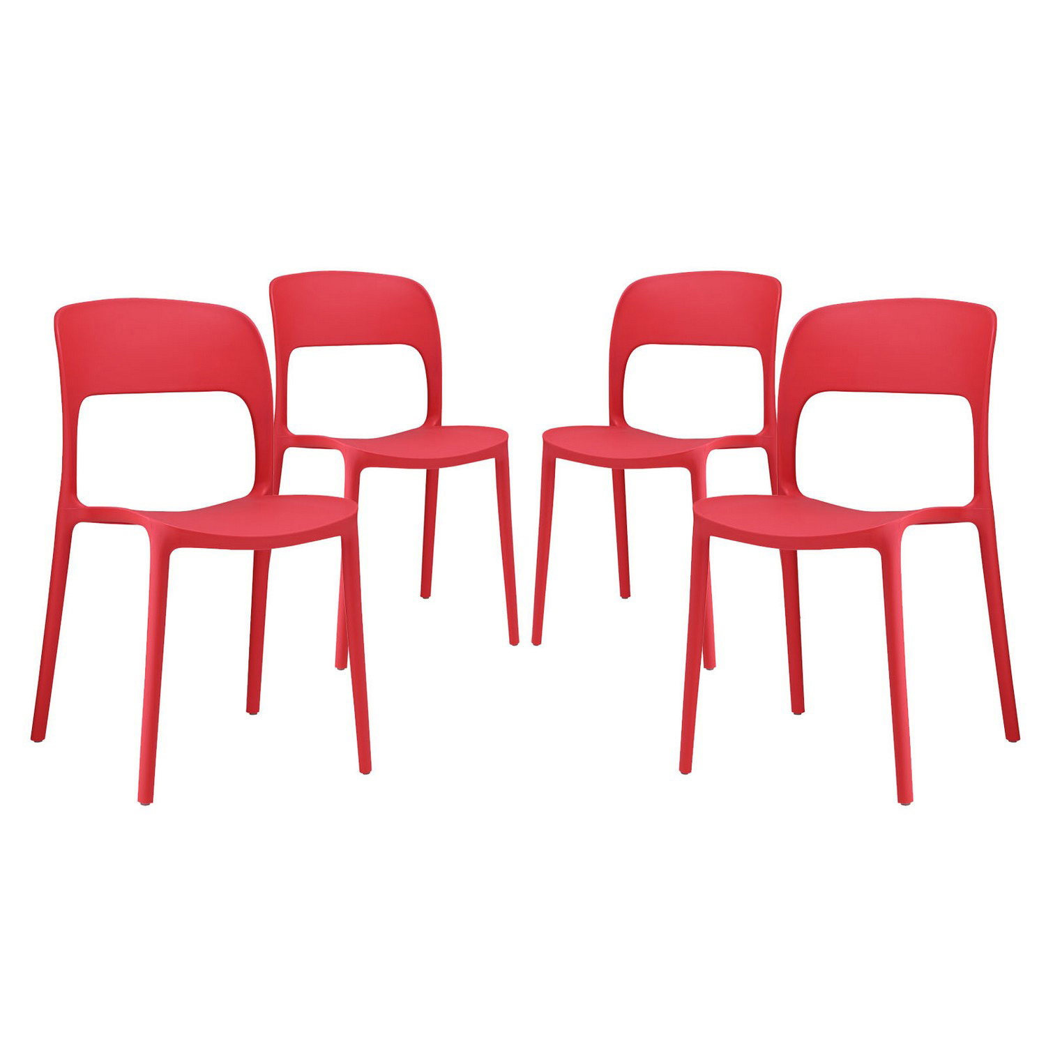 Modway Hop Dining Chair - Set of 4 - Red