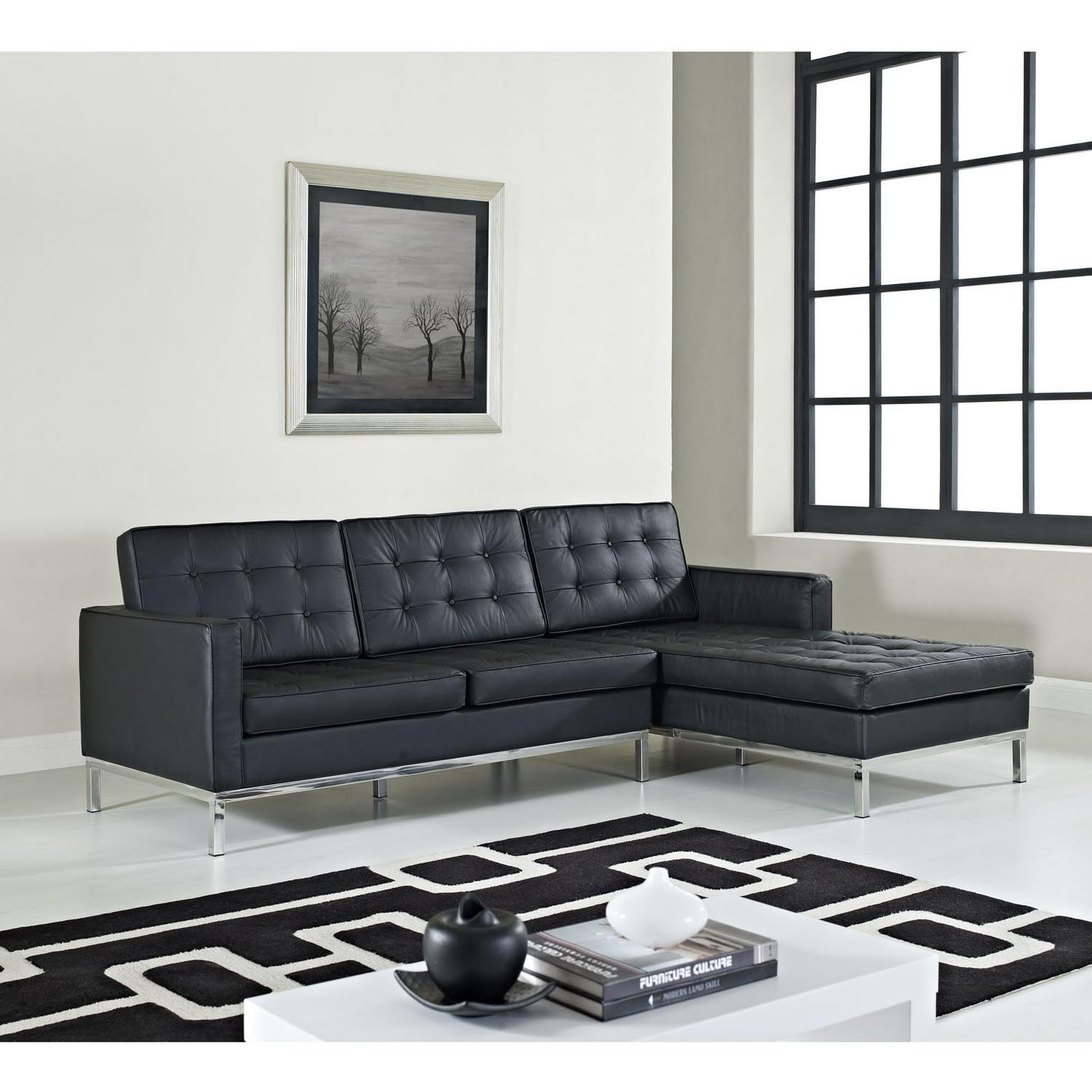 Modway Loft Right Arm Leather Sectional Sofa Black MW EEI 252