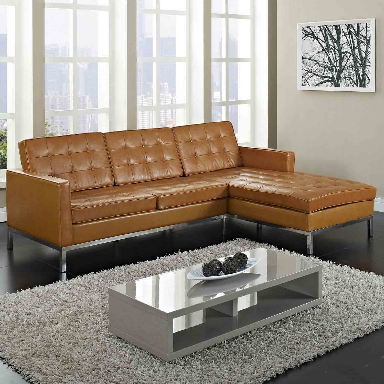 Modway loft right arm leather sectional sofa tan mw eei 252 tan at homelement com