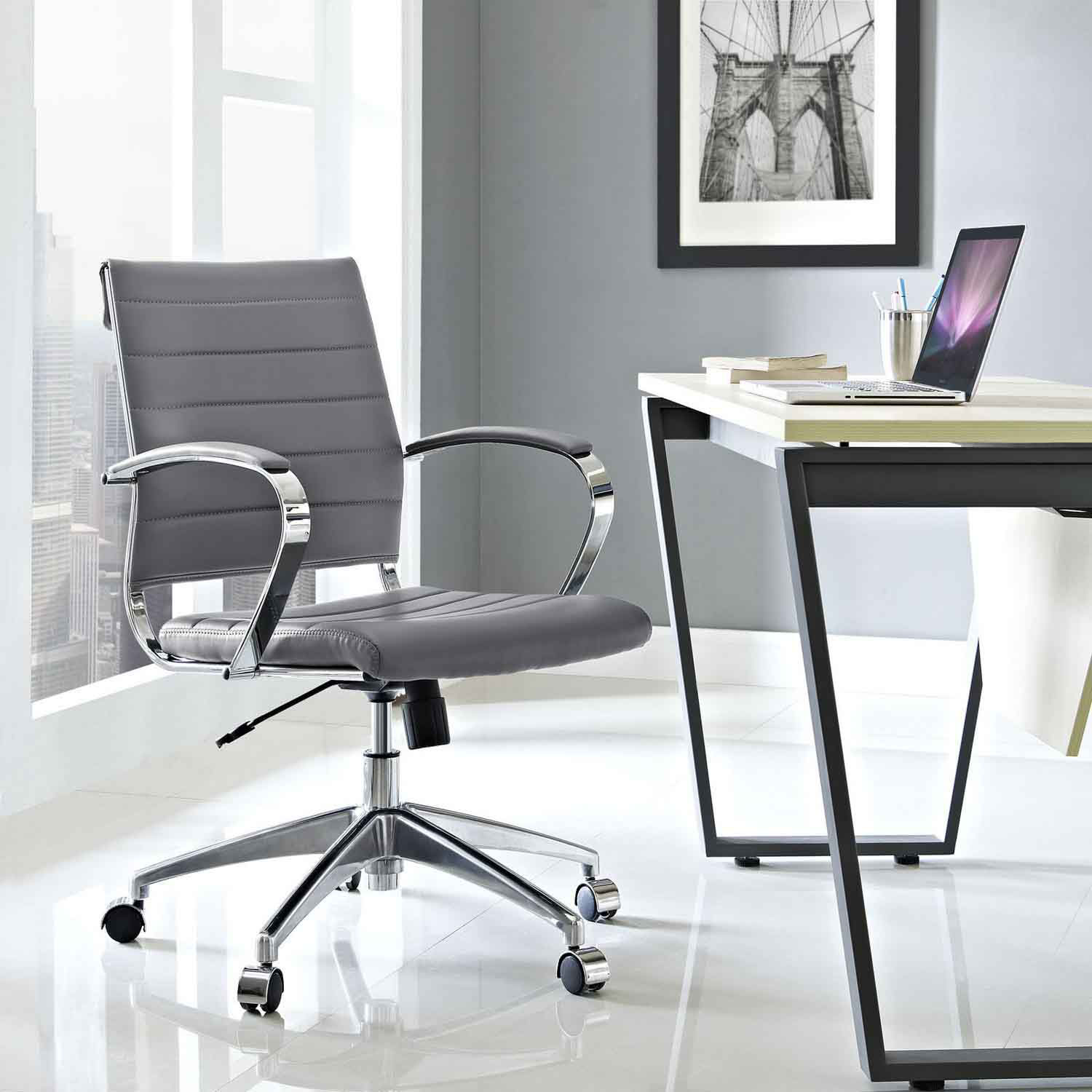 Modway Jive Mid Back Office Chair - Gray