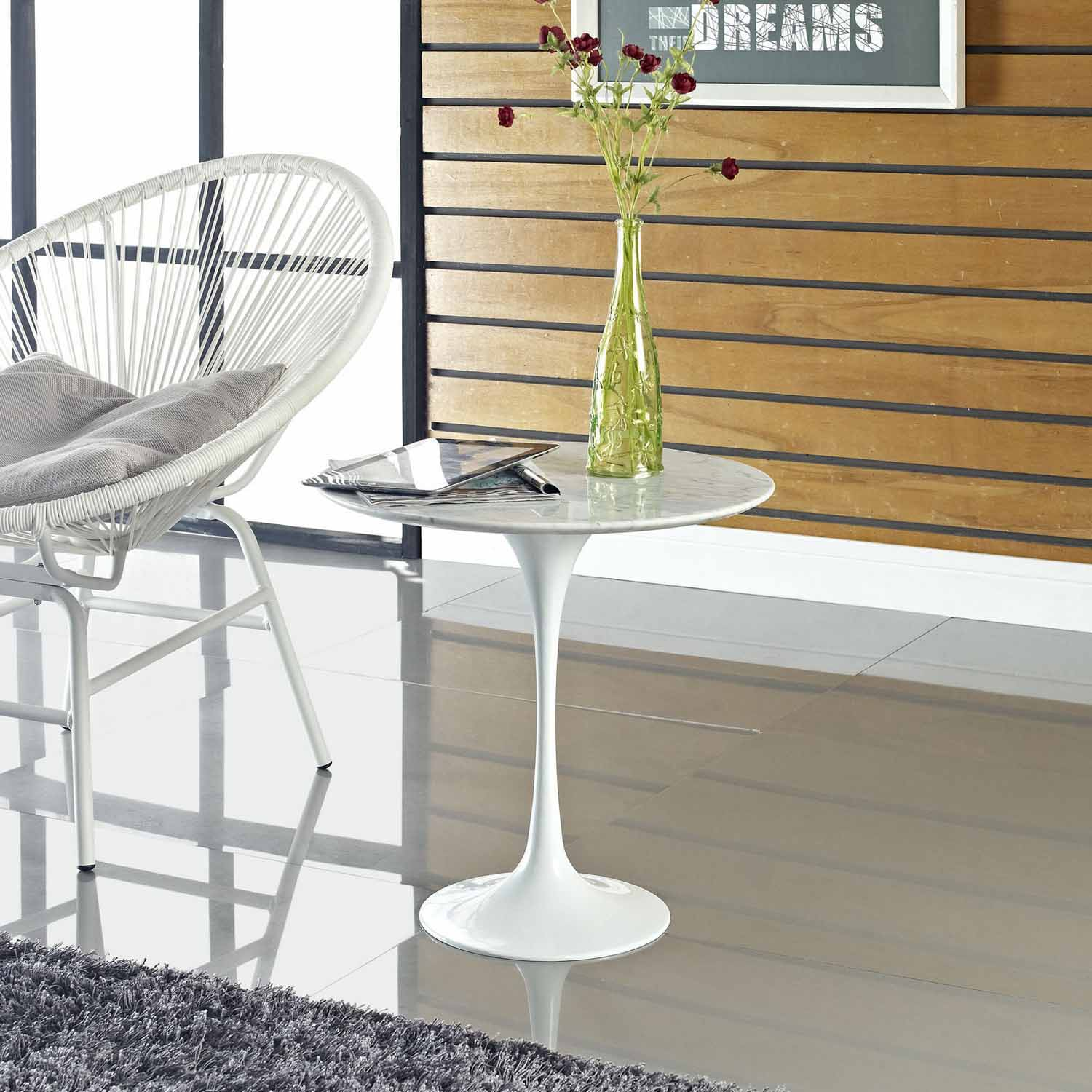 Modway Lippa 20 Marble Side Table - White