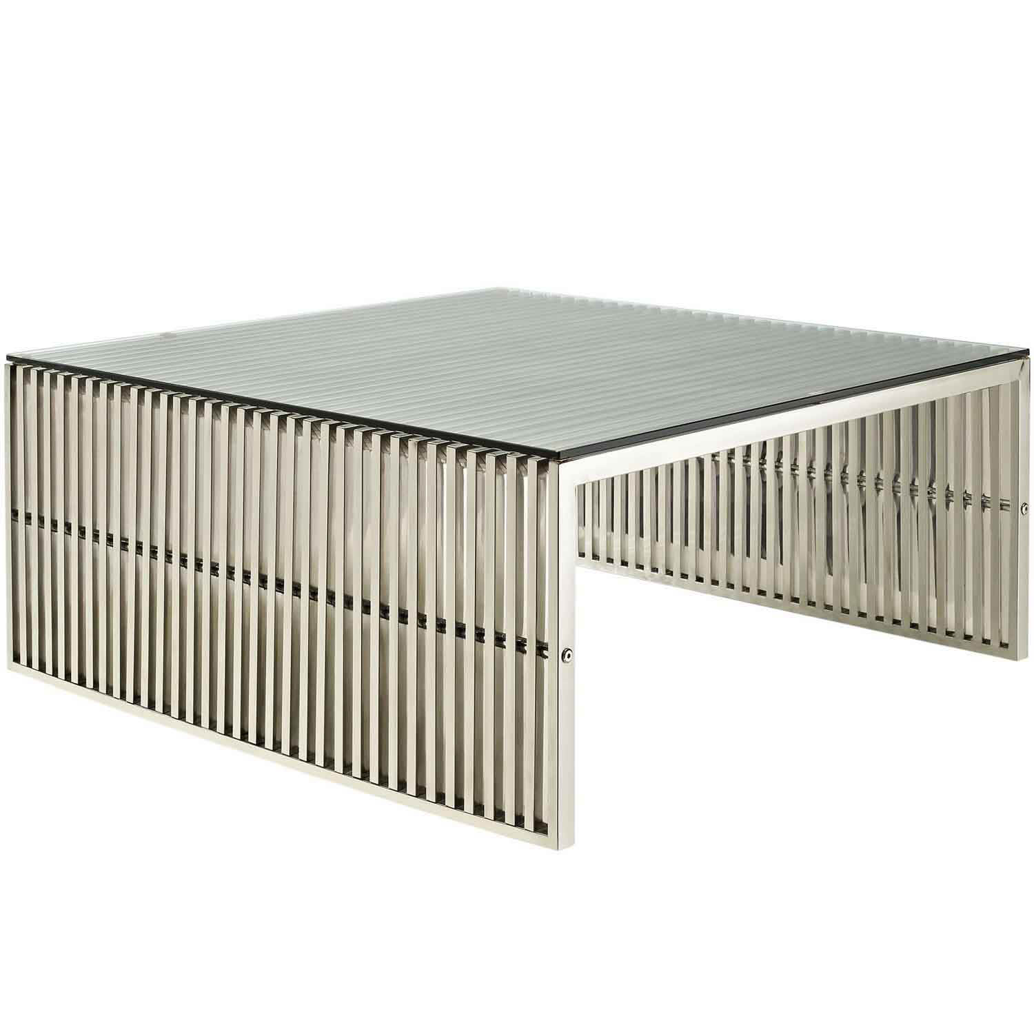 Modway Gridiron Coffee Table - Silver