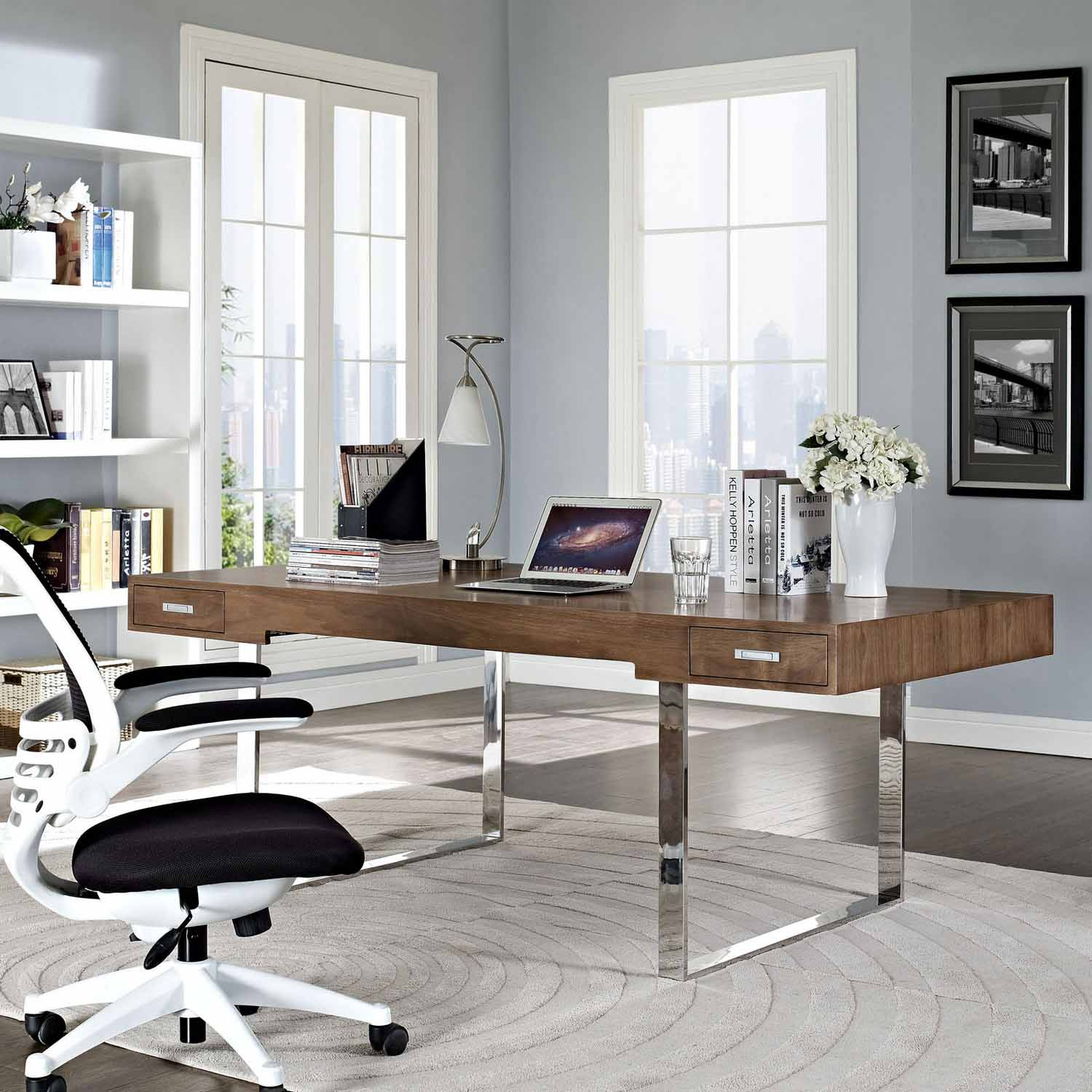 white walnut office furniture. Modway Tinker Office Desk - Walnut White Furniture E