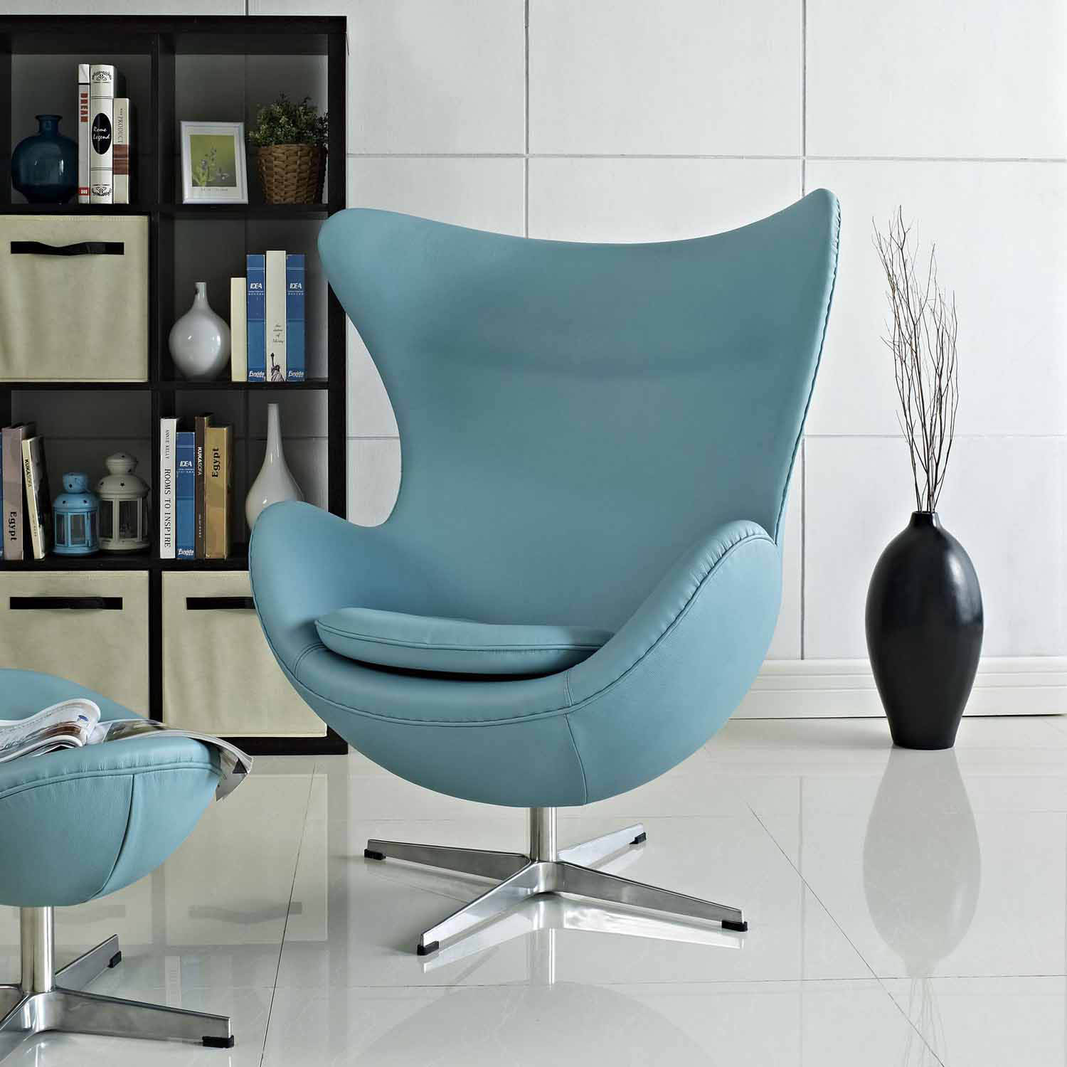 Modway Glove Leather Lounge Chair - Baby Blue