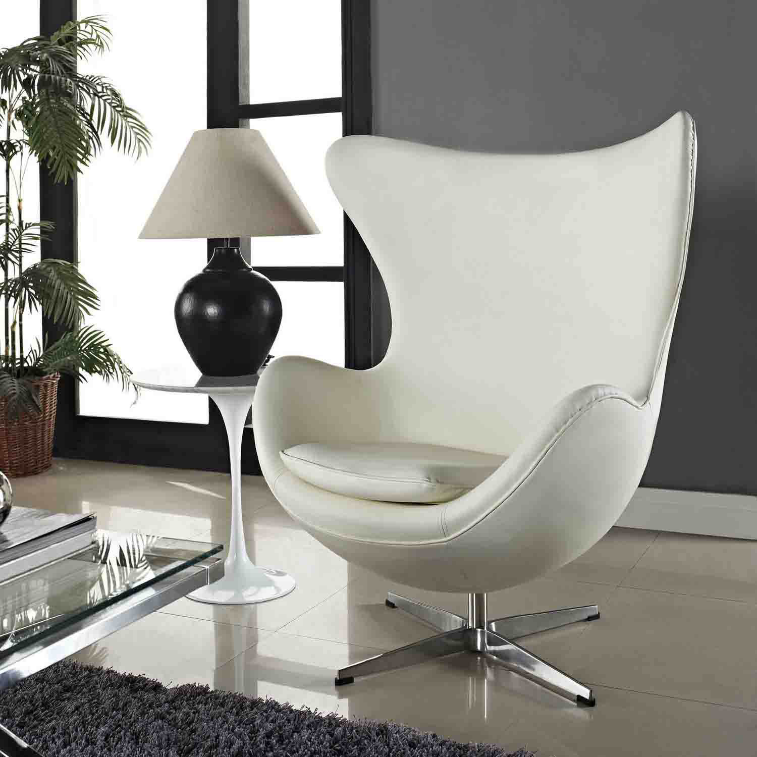 Modway Glove Leather Lounge Chair - White