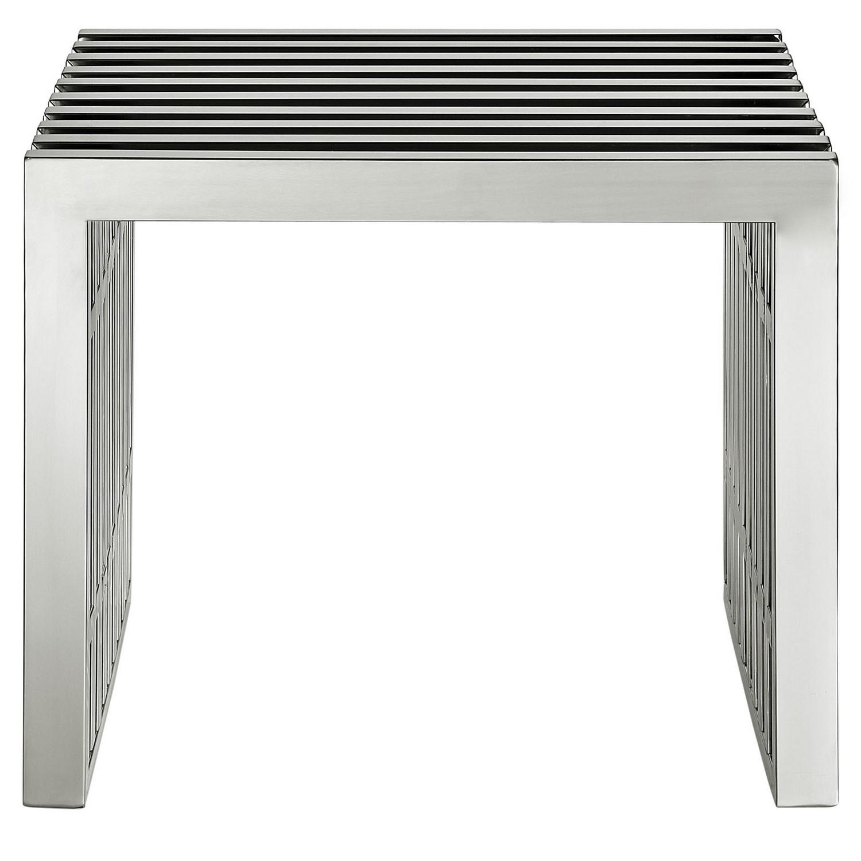 Modway Gridiron Small Bench - Silver
