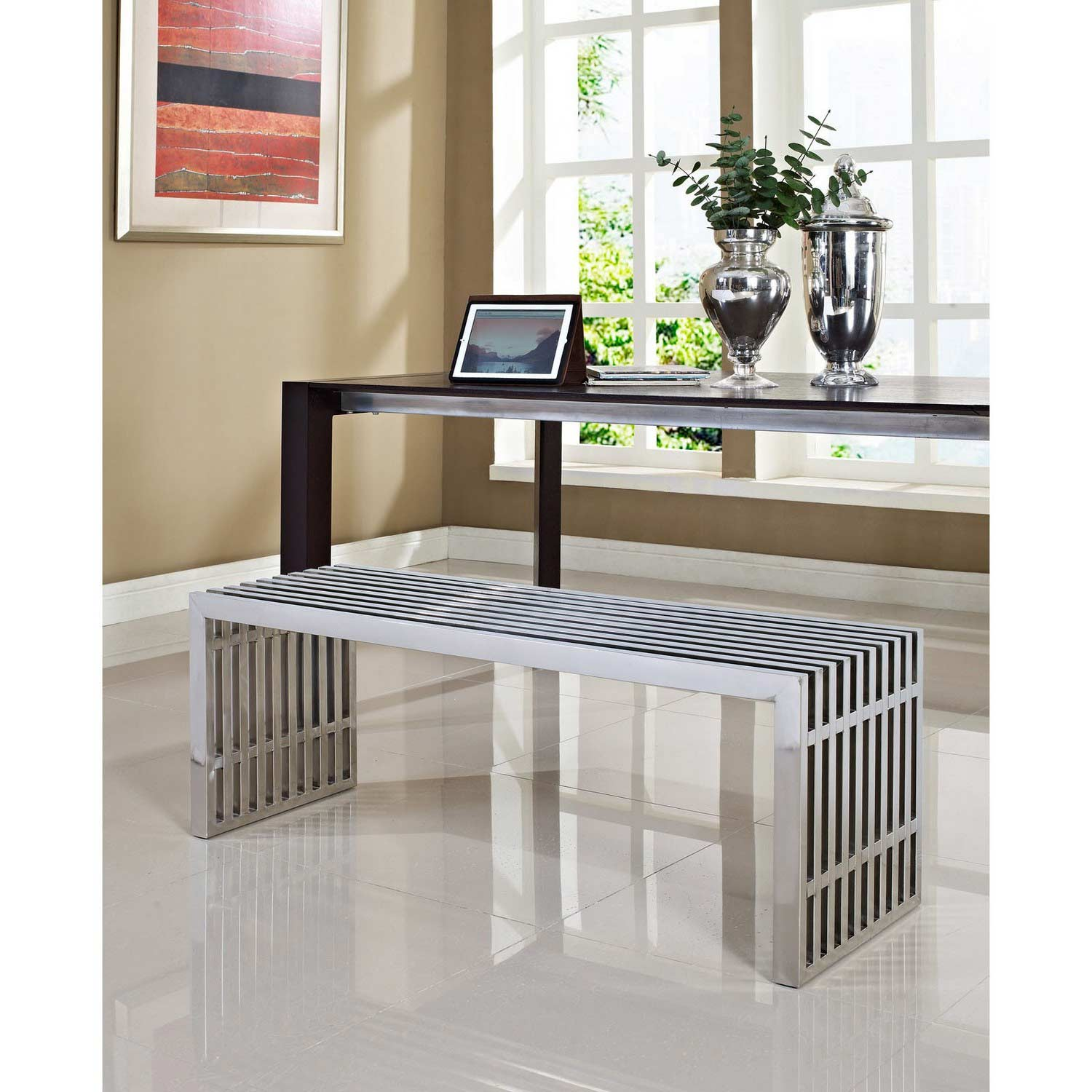 Modway Gridiron Large Bench - Silver