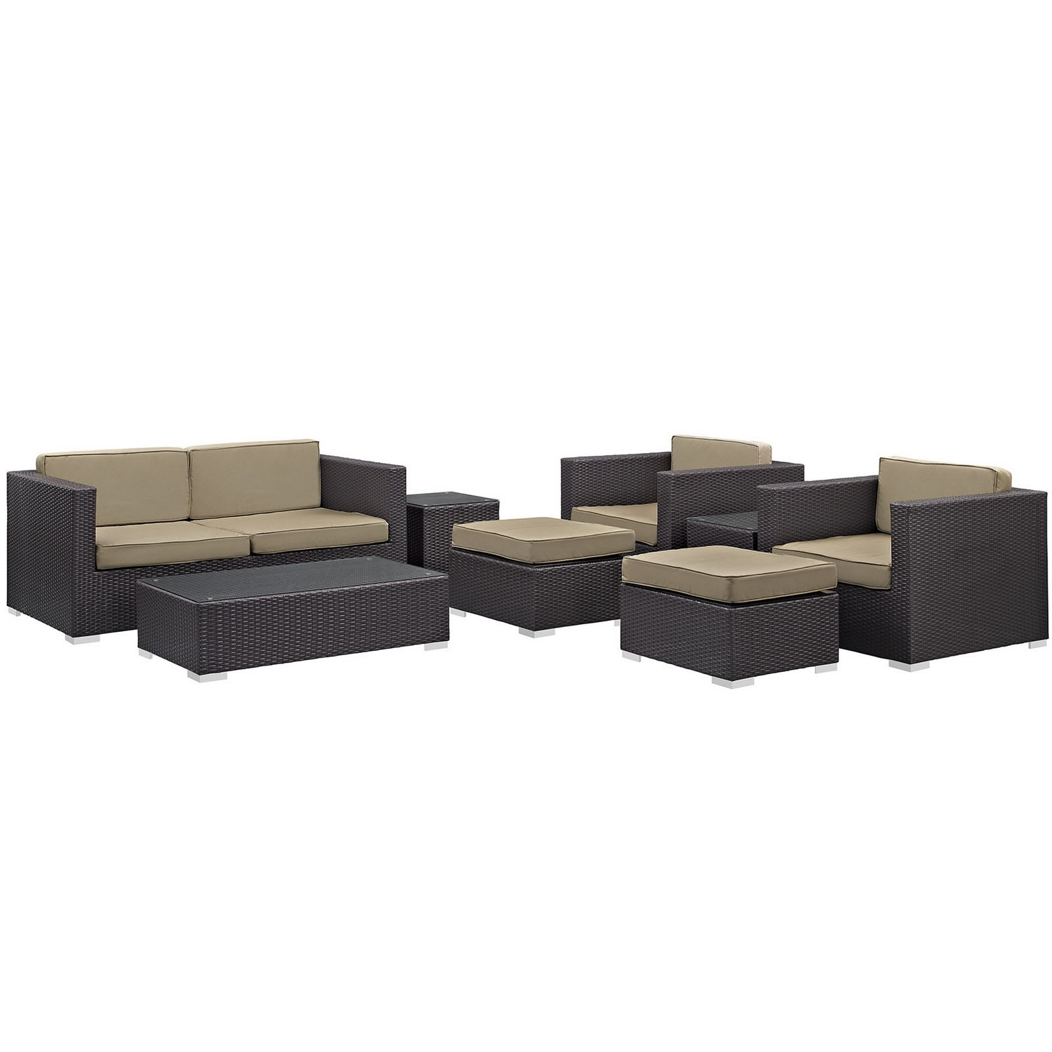 Modway Venice 8 Piece Outdoor Patio Sofa Set - Espresso/Mocha