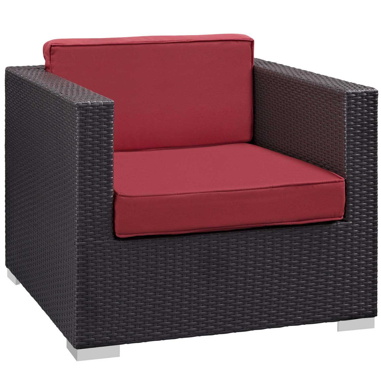 Modway Venice 8 Piece Outdoor Patio Sofa Set - Espresso/Red