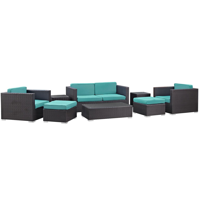 Modway Venice 8 Piece Outdoor Patio Sofa Set - Espresso/Turquoise