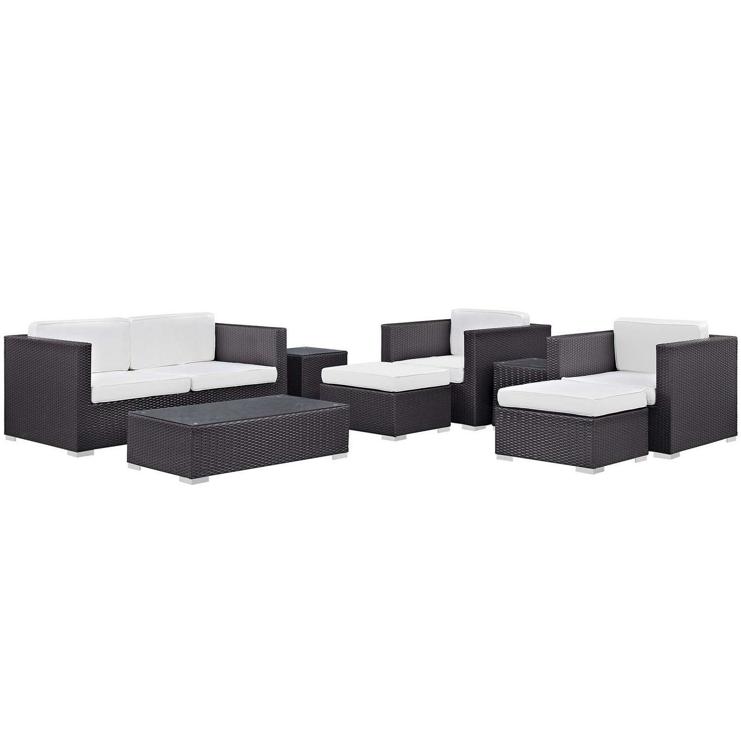 Modway Venice 8 Piece Outdoor Patio Sofa Set - Espresso/White