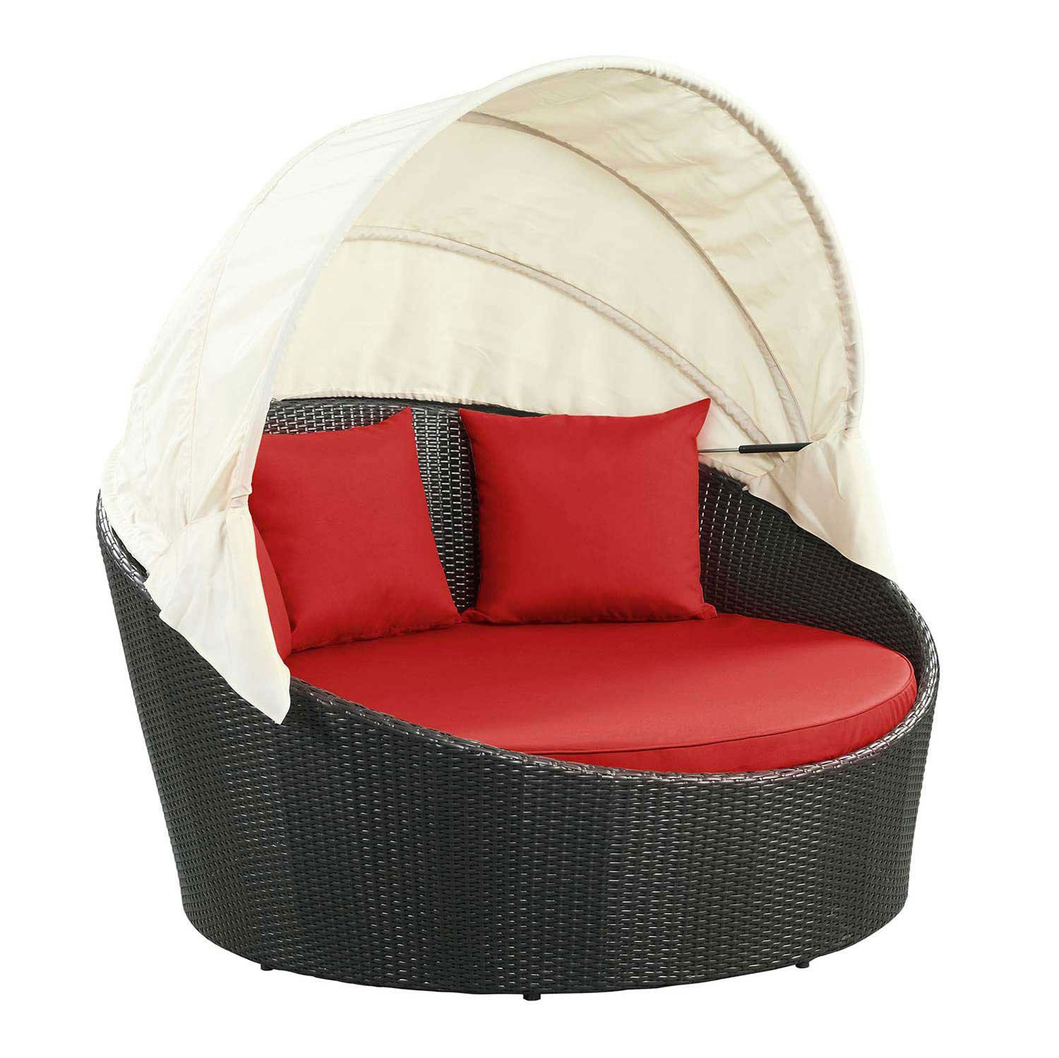 Modway Siesta Canopy Outdoor Patio Daybed - Espresso Red