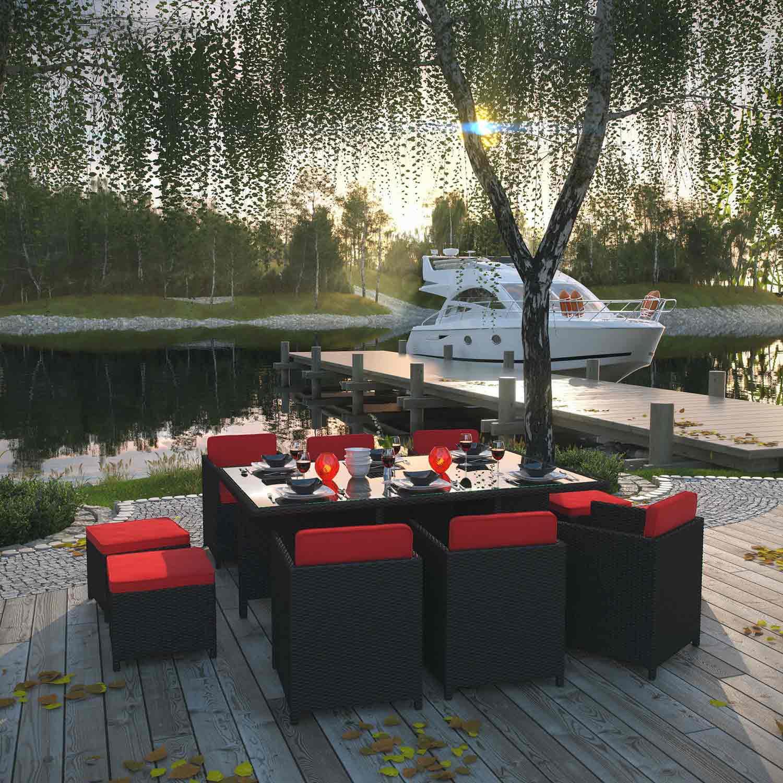 Modway Reversal 11 Piece Outdoor Patio Dining Set - Espresso/Red