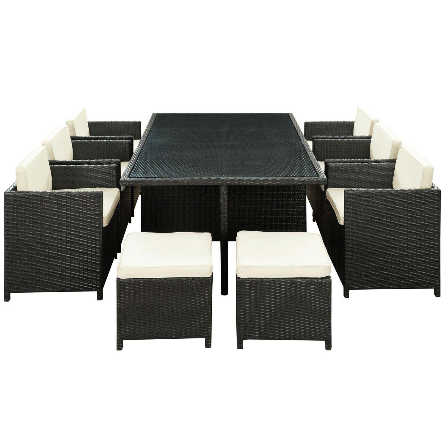 Modway Reversal 11 Piece Outdoor Patio Dining Set - Espresso/White