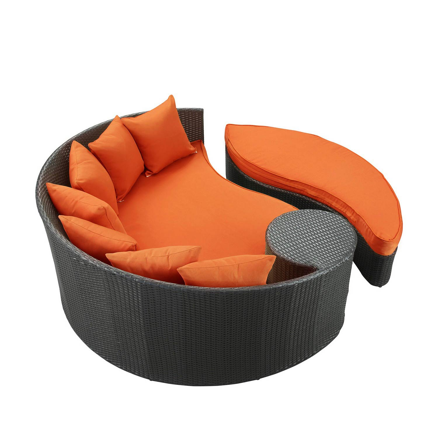 Modway Taiji Outdoor Patio Daybed - Espresso/Orange
