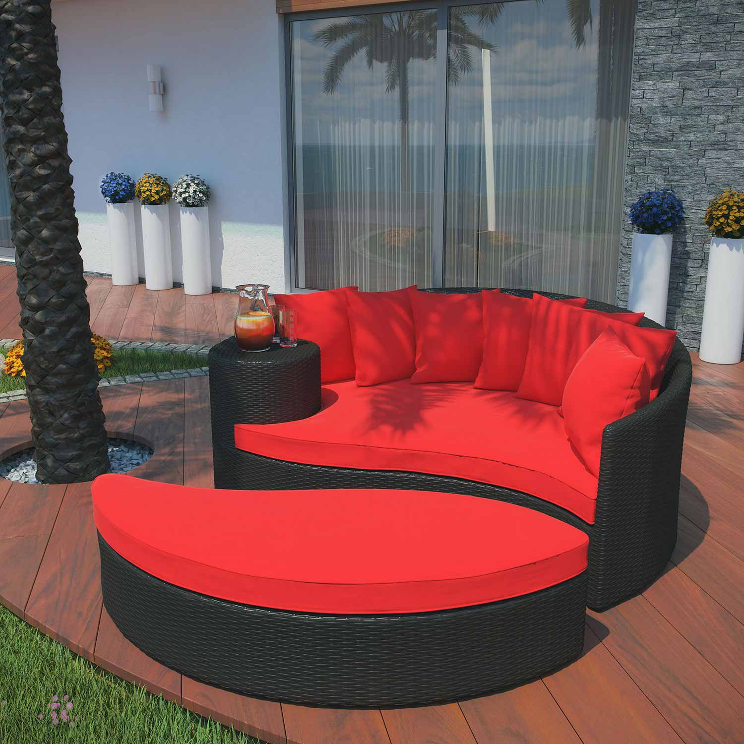 Modway Taiji Outdoor Patio Daybed - Espresso/Red