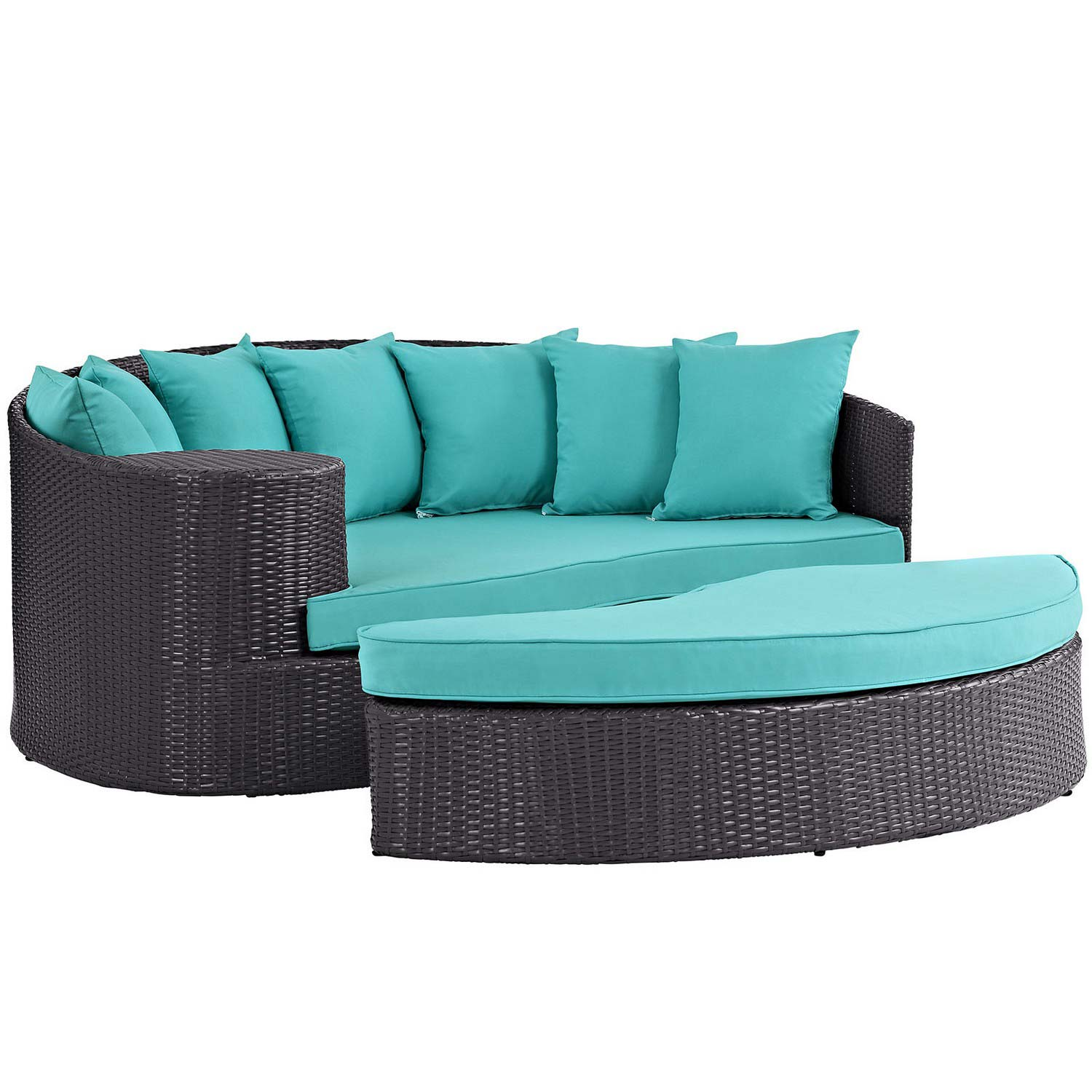 Modway Taiji Outdoor Patio Daybed - Espresso/Turquoise