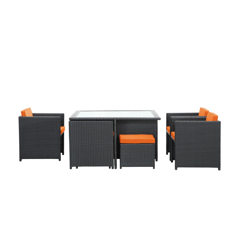 Modway Inverse 9 Piece Outdoor Patio Dining Set - Espresso/Orange