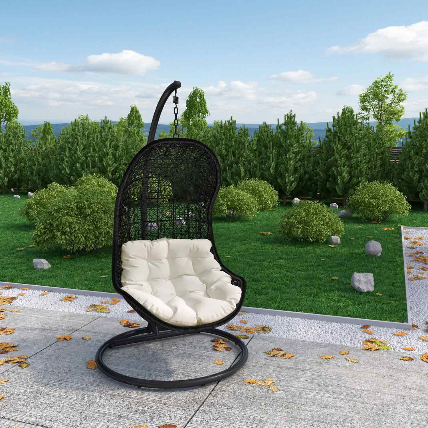 Modway Parlay Swing Outdoor Patio Lounge Chair - Espresso/White