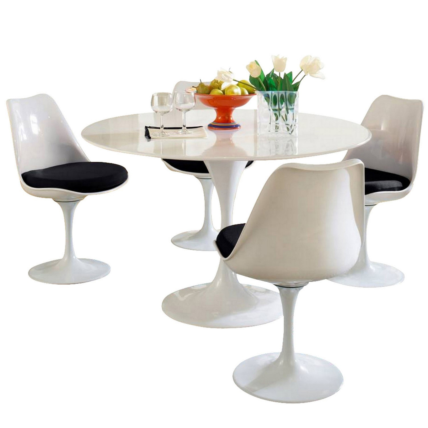 Modway Lippa 5 Piece Fiberglass Dining Set - Black