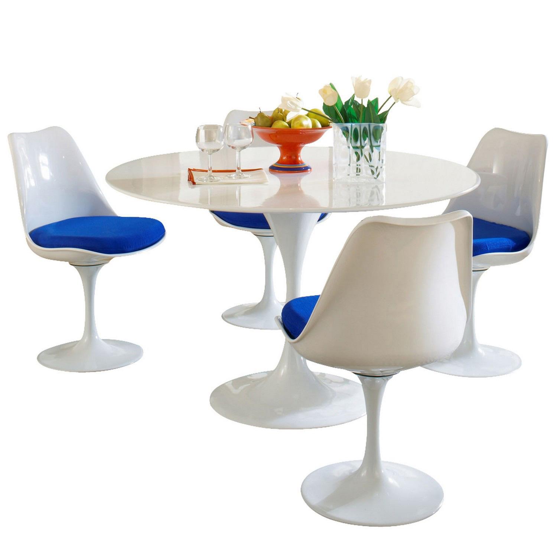 Modway Lippa 5 Piece Fiberglass Dining Set - Blue