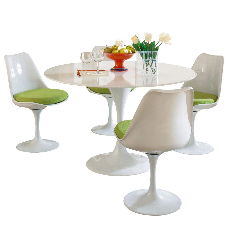 Modway Lippa 5 Piece Fiberglass Dining Set - Green