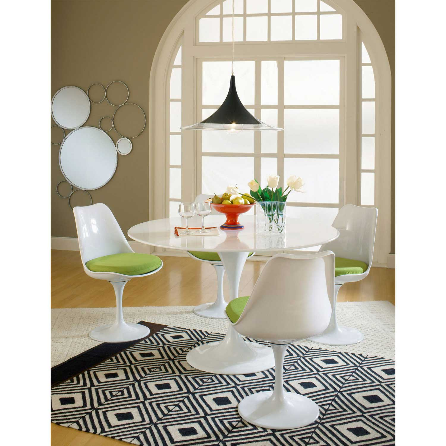 Modway Lippa 5 Piece Fiberglass Dining Set - Green