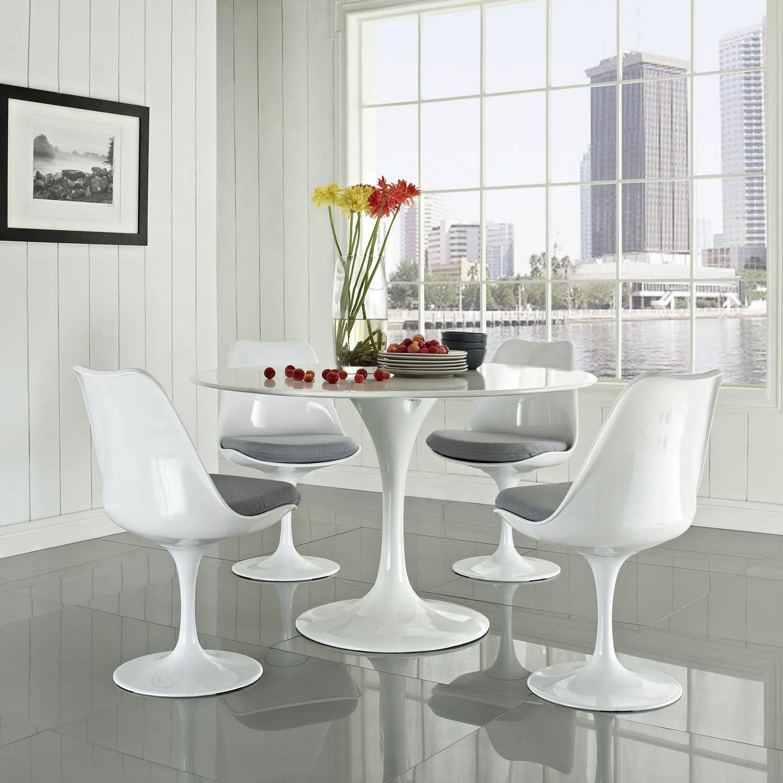 Modway Lippa 5 Piece Fiberglass Dining Set - Gray