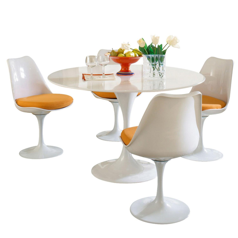Modway Lippa 5 Piece Fiberglass Dining Set - Orange