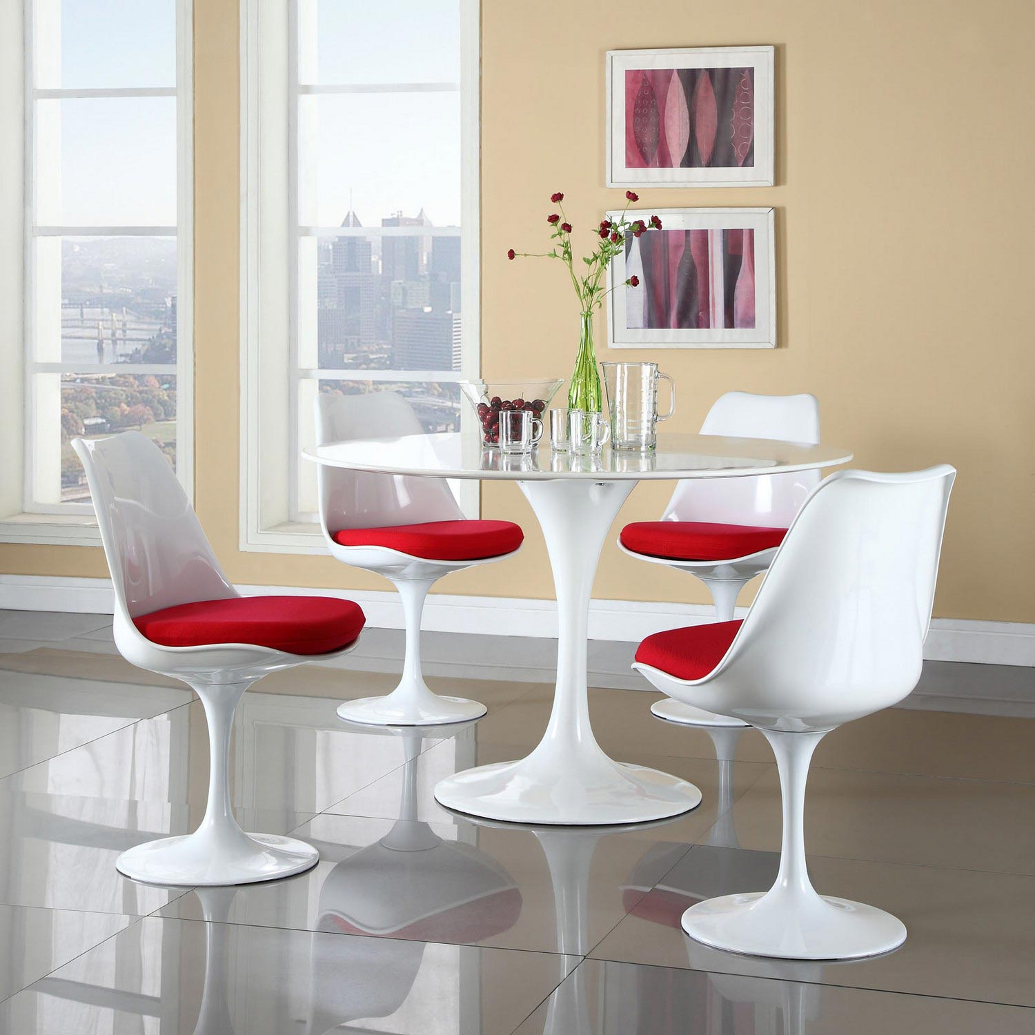 Modway Lippa 5 Piece Fiberglass Dining Set - Red