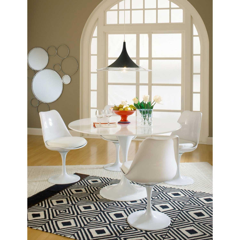 Modway Lippa 5 Piece Fiberglass Dining Set - White