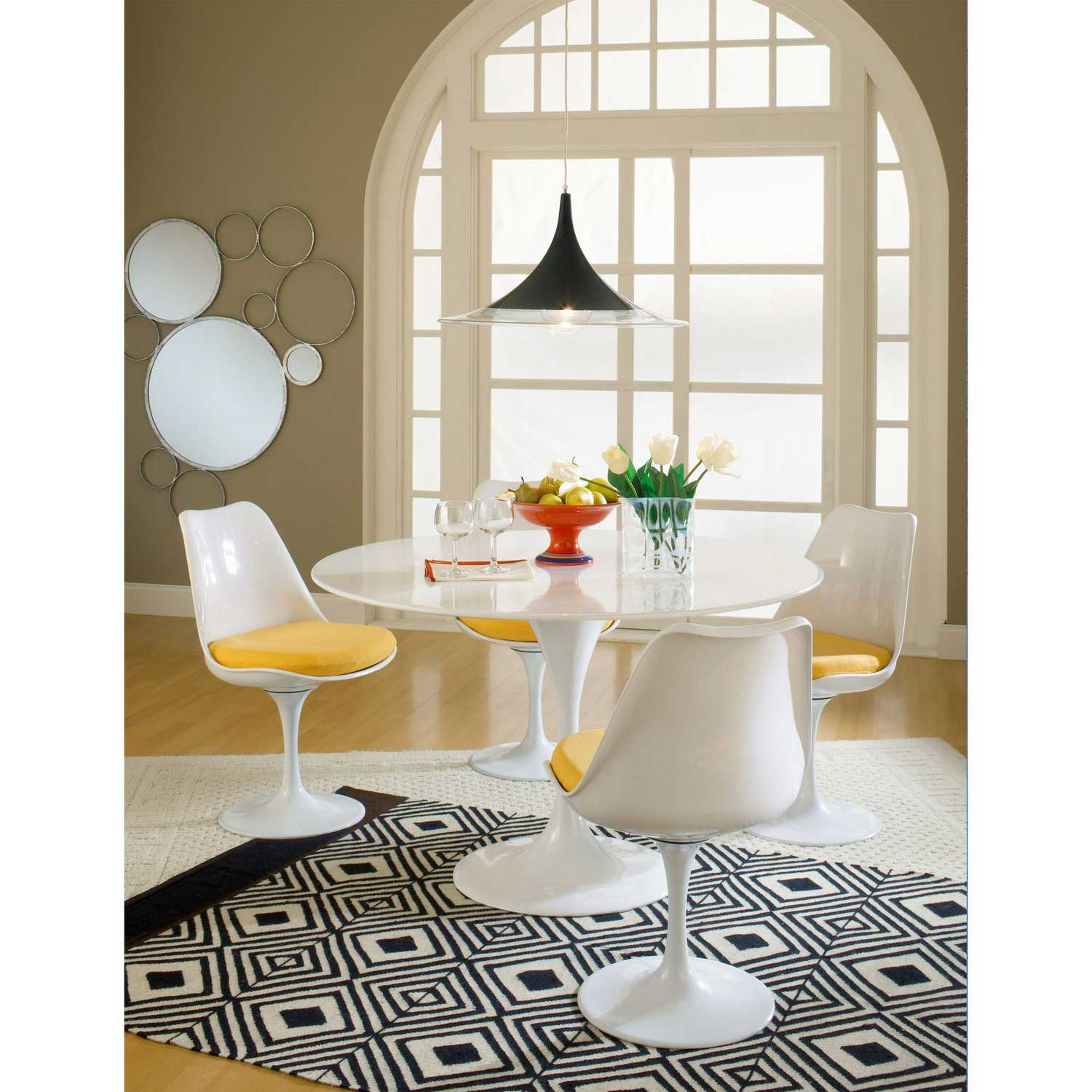 Modway Lippa 5 Piece Fiberglass Dining Set - Yellow